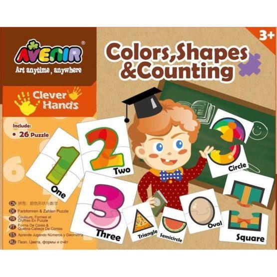 Set 26 puzzle-uri – Culori, forme si numere